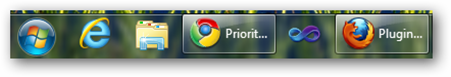 IE9 on the taskbar